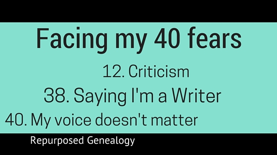 Facing my fears 12 Criticism,38 Saying I'm a writer and 40 That my voice doesn't matter