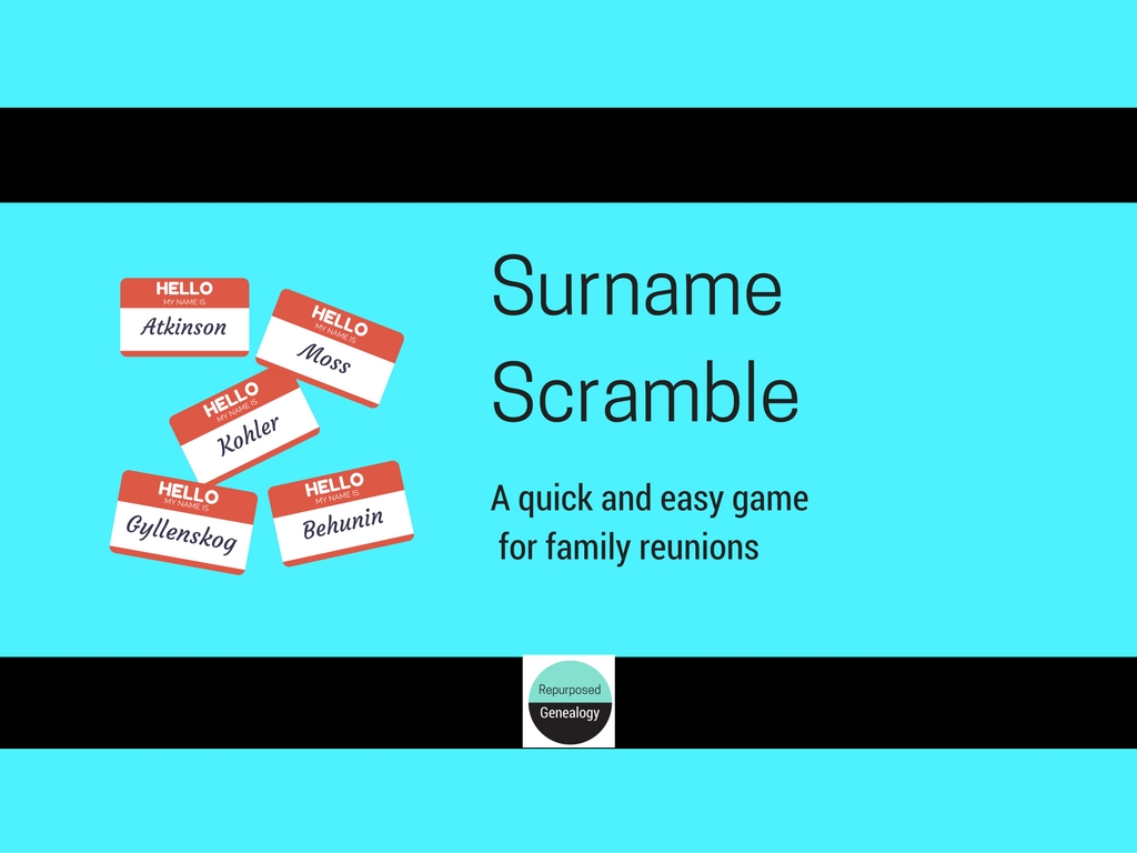 Surname Scramble A Quick and Easy Game for Your Family Reunion