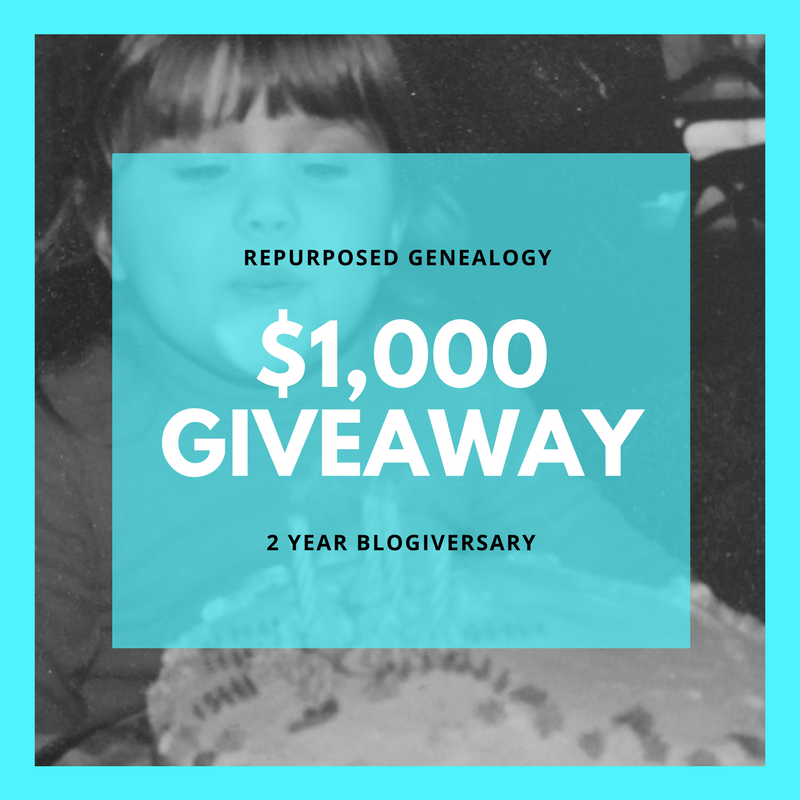 Repurposed Genealogy Blogiversary $1000 in prizes giveaway